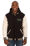 Monster Energy NASCAR Cup Series Two-Tone Reversible Fleece & PU Leather Hooded Jacket - Black/Cream - JH Design