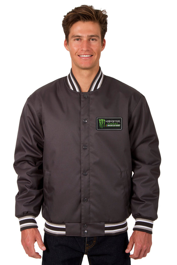 Monster Energy NASCAR Cup Series Poly Twill Varsity Jacket - Charcoal