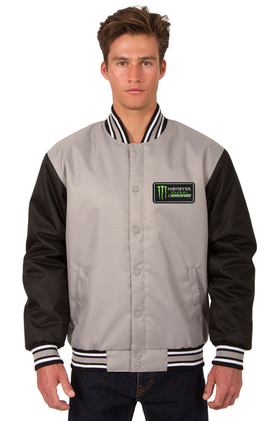 Monster Energy NASCAR Cup Series Poly Twill Varsity Jacket - Gray/Black
