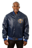 Denver Nuggets Full Leather Jacket - Navy - JH Design