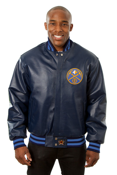 Denver Nuggets Full Leather Jacket - Navy