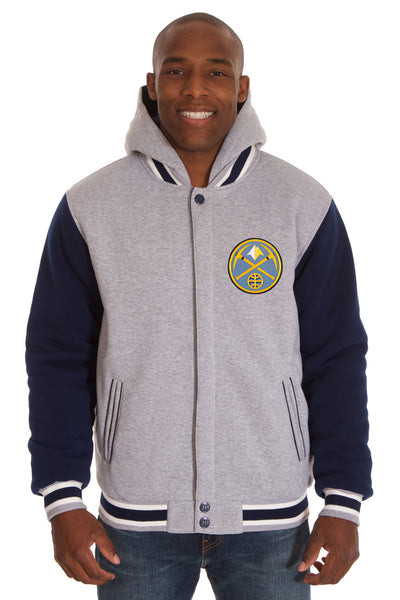 Denver Nuggets Two-Tone Reversible Fleece Hooded Jacket - Gray/Navy