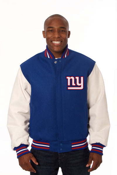 New York Giants Two-Tone Wool and Leather Jacket - Royal/White