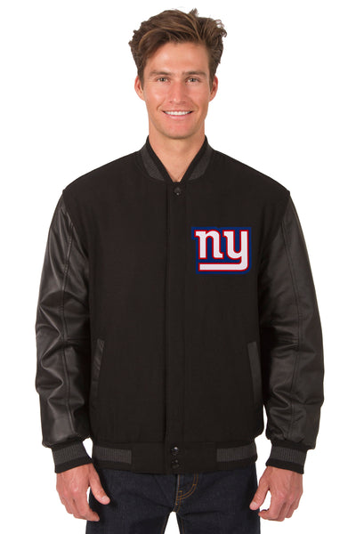 New York Giants Wool & Leather Reversible Jacket w/ Embroidered Logos - Black