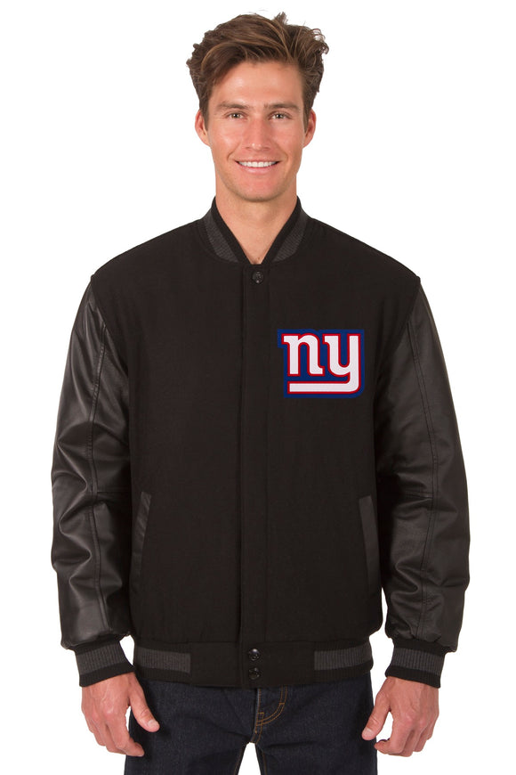 New York Giants Wool & Leather Reversible Jacket w/ Embroidered Logos - Black - JH Design