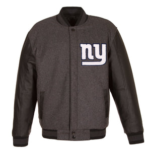 New York Giants Wool & Leather Throwback Reversible Jacket - Charcoal - JH Design