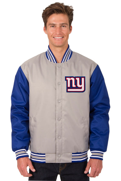 New York Giants Poly Twill Varsity Jacket - Gray/Royal