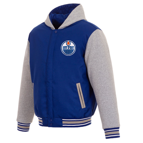 Edmonton Oilers Two-Tone Reversible Fleece Hooded Jacket - Royal/Grey - JH Design