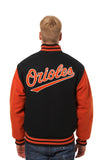 Baltimore Orioles Two-Tone Wool Jacket w/ Handcrafted Leather Logos - Black/Orange