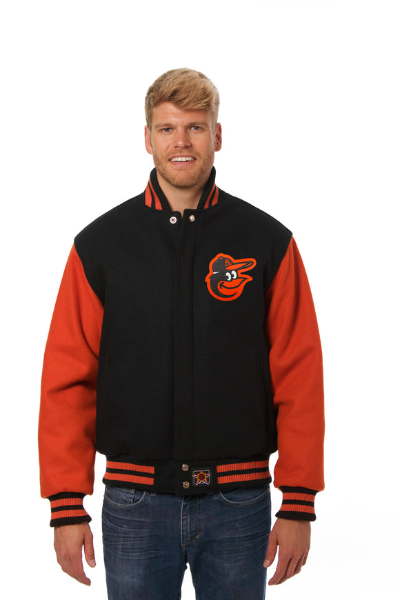 Baltimore Orioles Two-Tone Wool Jacket w/ Handcrafted Leather Logos - Black/Orange - JH Design