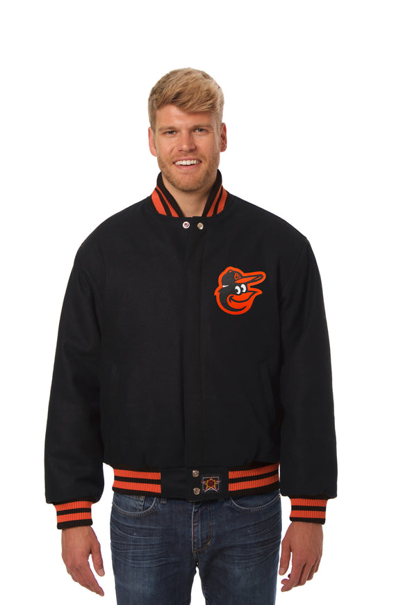 Baltimore Orioles Wool Jacket w/ Handcrafted Leather Logos - Black - JH Design