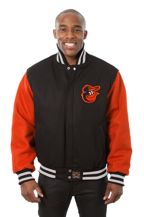 Baltimore Orioles Embroidered Wool Jacket - Black/Orange - JH Design