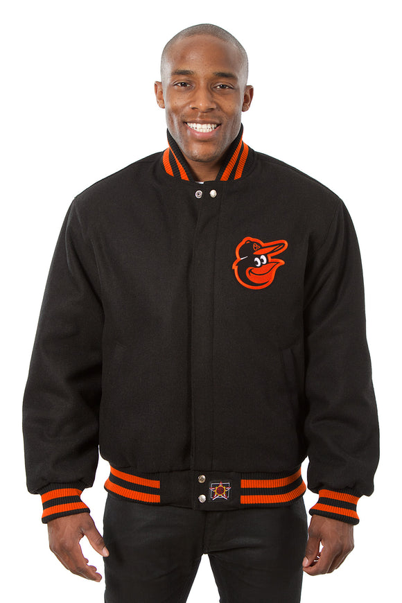 Baltimore Orioles Embroidered Wool Jacket - Black - JH Design