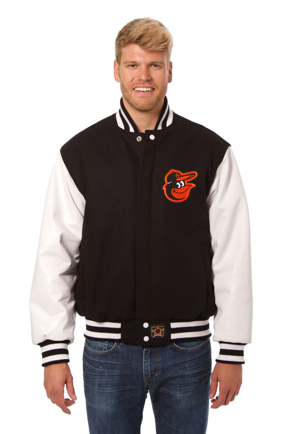 Baltimore Orioles Two-Tone Wool and Leather Jacket - Black - JH Design