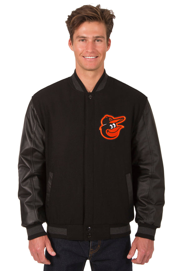 Baltimore Orioles Wool & Leather Reversible Jacket w/ Embroidered Logos - Black - JH Design