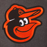 Baltimore Orioles Wool & Leather Reversible Jacket w/ Embroidered Logos - Charcoal/Black
