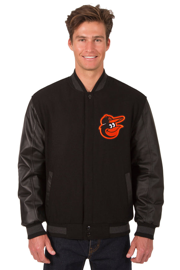 Baltimore Orioles Wool & Leather Reversible Jacket w/ Embroidered Logos - Black