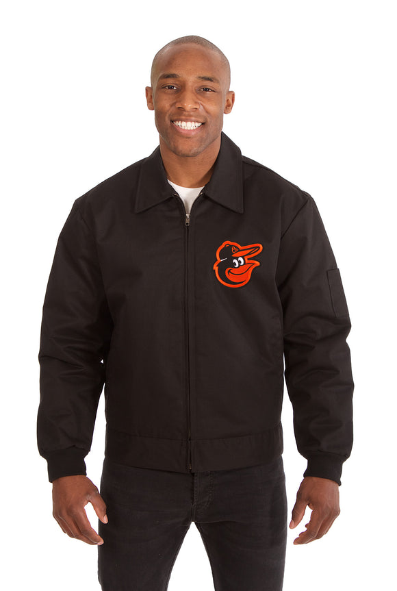Baltimore Orioles Cotton Twill Workwear Jacket - Black - JH Design