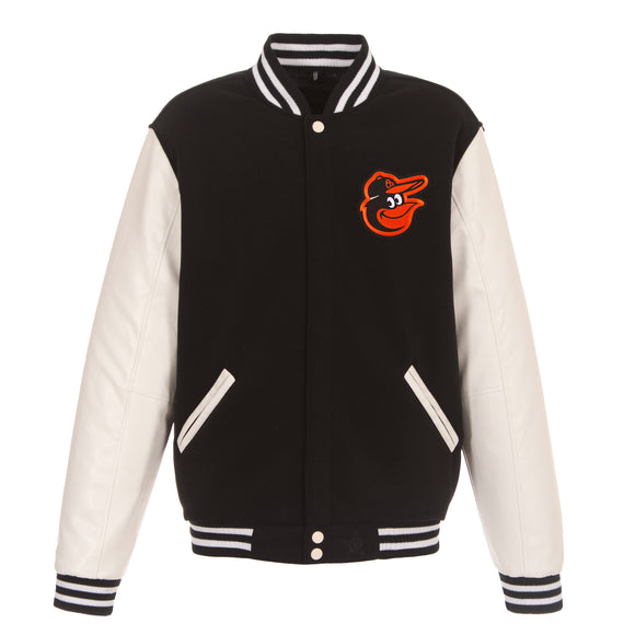 Baltimore Orioles - JH Design Reversible Fleece Jacket with Faux Leather Sleeves - Black/White - JH Design