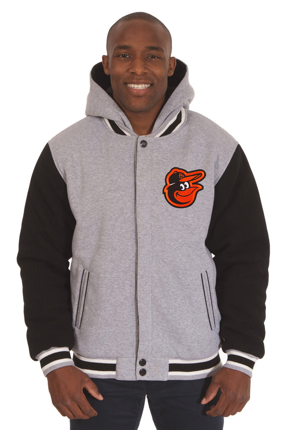 Baltimore Orioles Two-Tone Reversible Fleece Hooded Jacket - Gray/Black - J.H. Sports Jackets