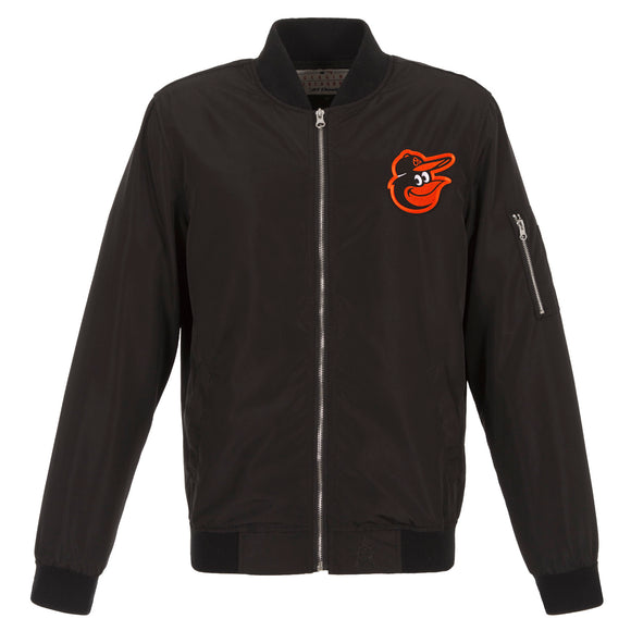 Baltimore Orioles JH Design Lightweight Nylon Bomber Jacket – Black