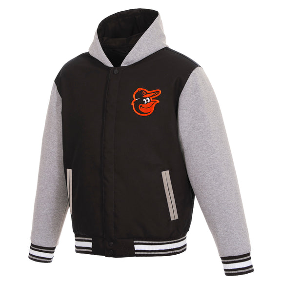 Baltimore Orioles Two-Tone Reversible Fleece Hooded Jacket - Black/Grey - JH Design