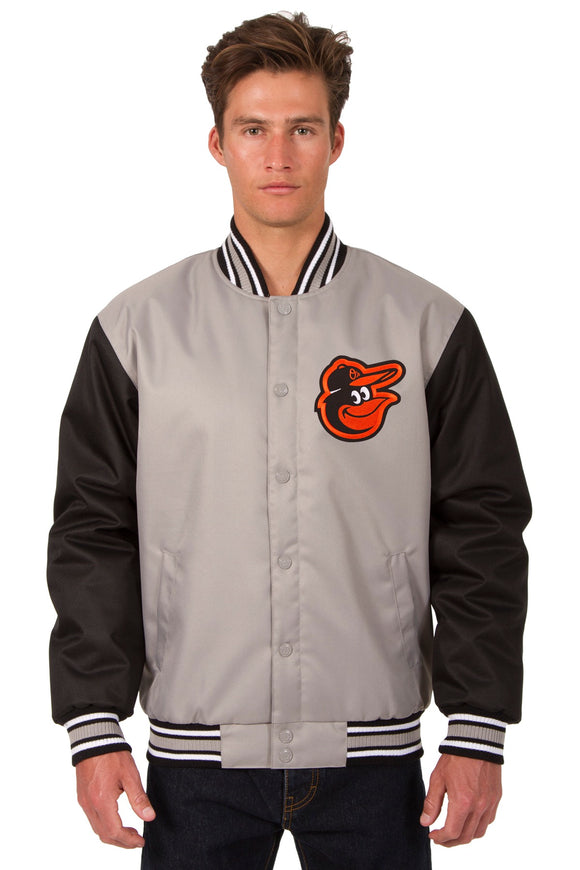 Baltimore Orioles Poly Twill Varsity Jacket - Gray/Black