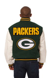 Green Bay Packers Two-Tone Wool and Leather Jacket - Green/White - JH Design