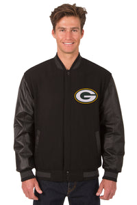 Green Bay Packers Wool & Leather Reversible Jacket w/ Embroidered Logos - Black - JH Design