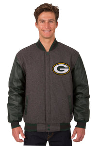 Green Bay Packers Wool & Leather Reversible Jacket w/ Embroidered Logos - Charcoal/Green - J.H. Sports Jackets