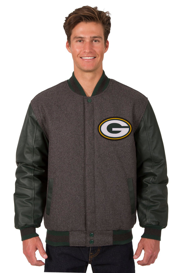 Green Bay Packers Wool & Leather Reversible Jacket w/ Embroidered Logos - Charcoal/Green