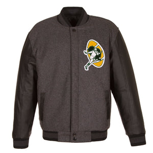 Green Bay Packers Wool & Leather Throwback Reversible Jacket - Charcoal