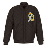 Green Bay Packers Wool & Leather Throwback Reversible Jacket - Charcoal - J.H. Sports Jackets