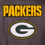 Green Bay Packers Poly Twill Varsity Jacket - Charcoal - JH Design