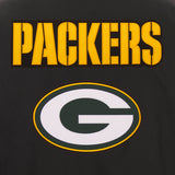 Green Bay Packers Poly Twill Varsity Jacket - Black - JH Design