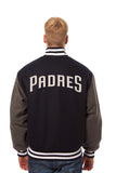 San Diego Padres Two-Tone Wool Jacket w/ Handcrafted Leather Logos - Navy/Gray - JH Design