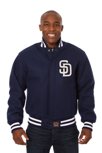San Diego Padres Wool Jacket w/ Handcrafted Leather Logos - Navy - JH Design