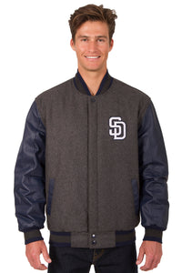 San Diego Padres Wool & Leather Reversible Jacket w/ Embroidered Logos - Charcoal/Navy - J.H. Sports Jackets