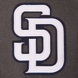 San Diego Padres Wool & Leather Reversible Jacket w/ Embroidered Logos - Charcoal/Navy - JH Design
