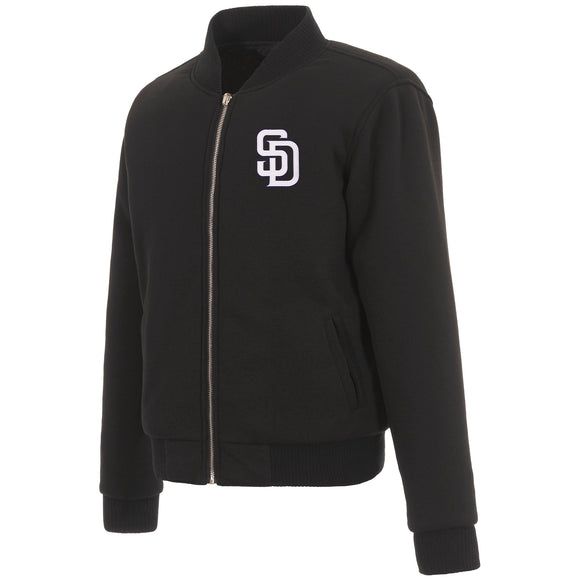 San Diego Padres JH Design Reversible Women Fleece Jacket - Black - JH Design