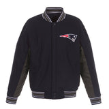 New England Patriots JH Design Wool Reversible Full-Snap Jacket – Navy - JH Design