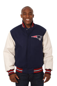 New England Patriots Two-Tone Wool and Leather Jacket - Navy/White - JH Design