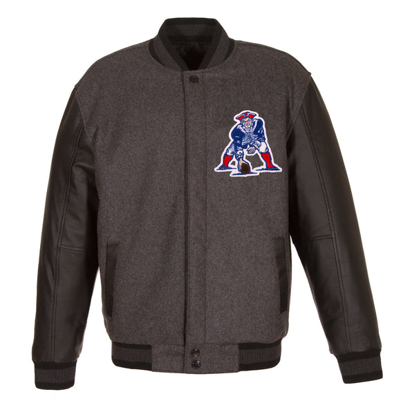 New England Patriots Wool & Leather Throwback Reversible Jacket - Charcoal - JH Design