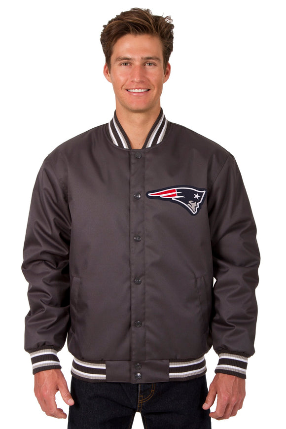 New England Patriots Poly Twill Varsity Jacket - Charcoal - JH Design