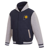 Indiana Pacers Two-Tone Reversible Fleece Hooded Jacket - Navy/Grey - JH Design