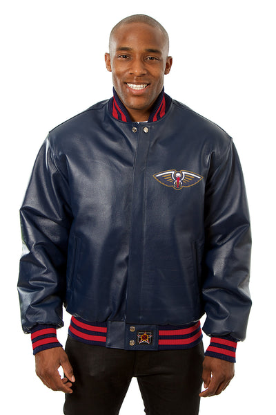 New Orleans Pelicans Full Leather Jacket - Navy