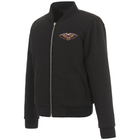 New Orleans Pelicans JH Design Reversible Women Fleece Jacket - Black - JH Design