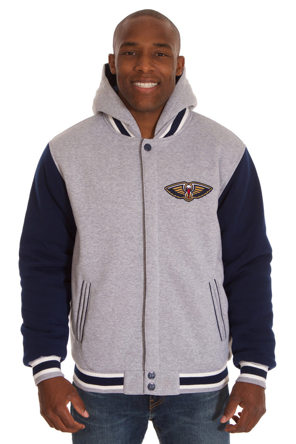 New Orleans Pelicans Two-Tone Reversible Fleece Hooded Jacket - Gray/Navy