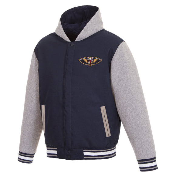 New Orleans Pelicans Two-Tone Reversible Fleece Hooded Jacket - Navy/Grey - JH Design