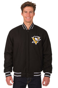 Pittsburgh Penguins Reversible Wool Jacket - Black - JH Design